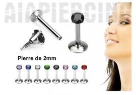 Piercing labret pierre ronde 2mm