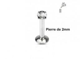 Piercing labret pierre ronde 2mm-blanc