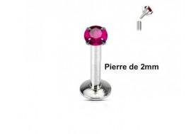 Piercing labret pierre ronde 2mm-Fushia
