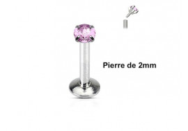 Piercing labret pierre ronde 2mm-rose