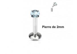Piercing labret pierre ronde 2mm-bleu turquoise