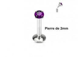 Piercing labret pierre ronde 2mm-violet