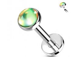 Piercing labret iridescent vert