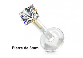 Piercing labret bioflex carré 3mm plaqué or