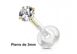 Piercing labret bioflex rond 3mm plaqué or