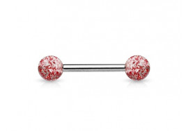 Piercing barbell billes paillettes rouge