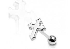Piercing langue croix gothique
