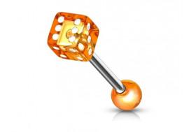 Piercing langue acrylique dé orange