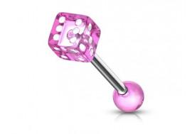 Piercing langue acrylique dé-rose