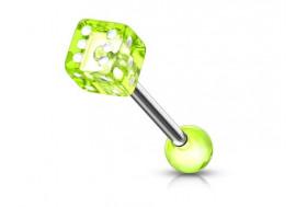 Piercing langue acrylique dé vert