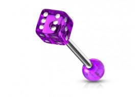 Piercing langue acrylique dé violet