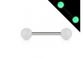 Piercing barbell phosphorescent blanc