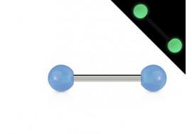 Piercing barbell phosphorescent bleu