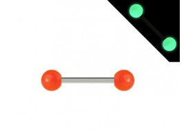 Piercing barbell phosphorescent orange
