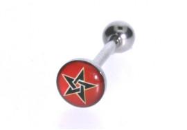 Piercing langue logo pentagramme