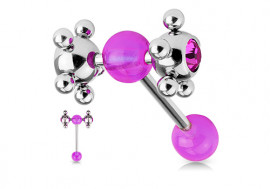 Piercing langue satellite violet