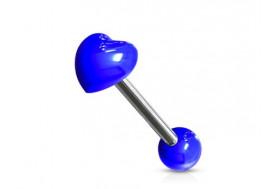 Piercing langue acrylique coeur bleu