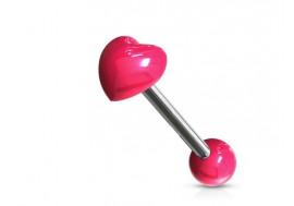 Piercing langue acrylique coeur rose