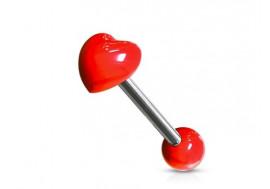 Piercing langue acrylique coeur rouge