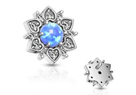 Piercing dermal fleur opale bleue