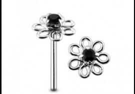Piercing nez argent 925 fleur noire