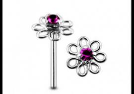 Piercing nez argent 925 fleur violette