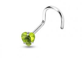Piercing nez courbé pierre griffée coeur vert
