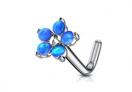 Piercing nez fleur opalite bleue