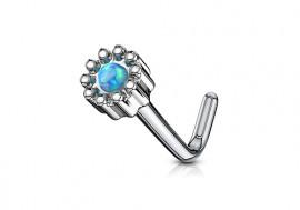 Piercing nez L fleur opale verte
