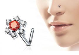 Piercing nez L fleur strass rouge