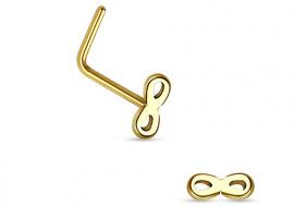 Piercing nez L infinity plaqué or
