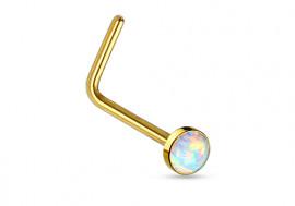 Piercing nez L opale plaqué or sertie blanche