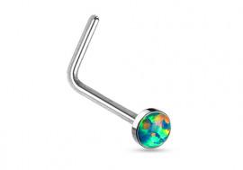 Piercing nez L opale sertie verte