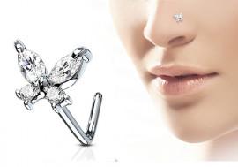 Piercing nez L papillon strass blanc