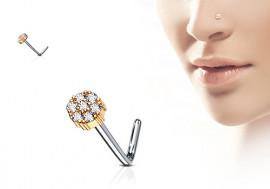 Piercing nez L fleur plaqué or rose