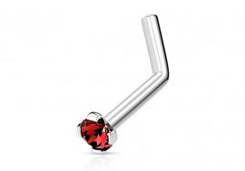 Piercing nez L pierre griffée rouge