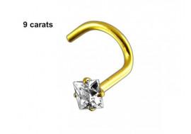 Piercing nez stud or 9 carats pierre carrée 2,5mm