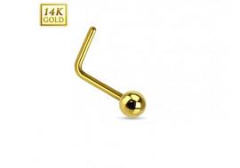Piercing nez L or jaune 14 carats boule