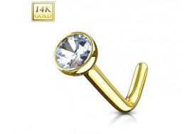 Piercing nez or jaune 14 carats pierre sertie et tige en L