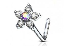 Piercing nez L fleur et strass blanc irisé