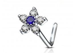 Piercing nez L fleur et strass bleu