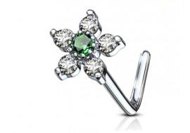 Piercing nez L fleur et strass vert