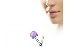 Piercing nez L pierre semie précieuse améthyste