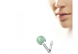 Piercing nez L pierre semie précieuse jade