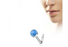 Piercing nez L pierre semie précieuse turquoise