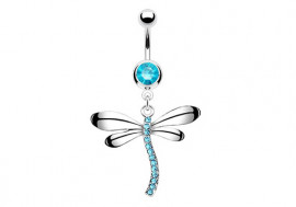 Piercing nombril libellule bleue