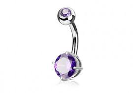 Piercing nombril griffé violet 8mm