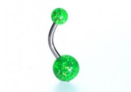 Piercing nombril acrylique glitter vert