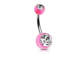 Piercing nombril acrylique rose pierre blanche