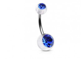 Piercing nombril acrylique pierre bleue